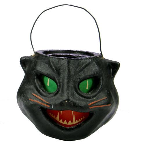 VINTAGE Style Black Cat Jack O Lantern Paper Mache Pulp Candy Bucket Halloween