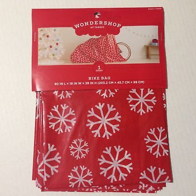 2 Large Bike Gift Bags Snowflake Wrap Christmas White & Red 80 x 18 X 39 Plastic](Plastic Gift Wrap)