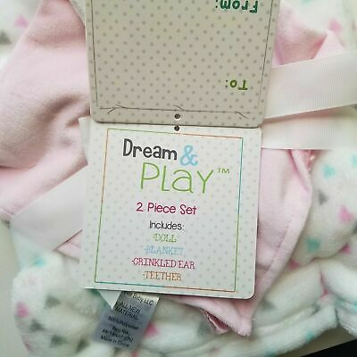NWT DREAM PLAY Elephant Lovey Plush Triangle Crib Blanket Set Velour Satin - $25.99