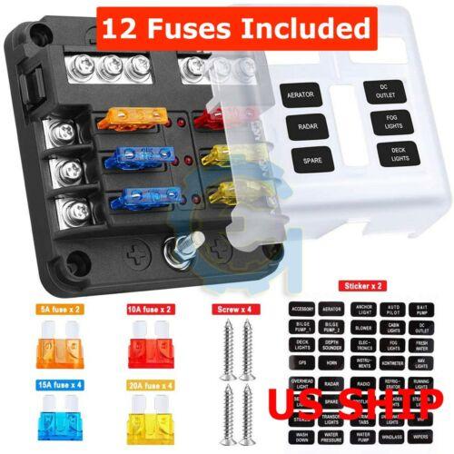 6 WAY Circuit Automotive ATC Blade Fuse Holder Box LED Indicator Block Negative