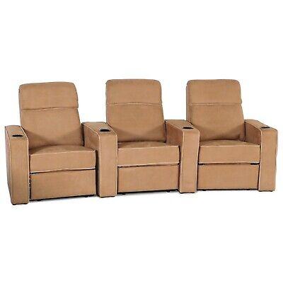 Seatcraft Lorenzo Tan Fabric Manual Recline Row of 3 Home Theater Seating Chairs - Microfiber Home Theater Seating