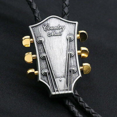 Artical Heart Original Western Cowboy Music theme Guitar head Bolo Tie Fashion - Western Theme Music