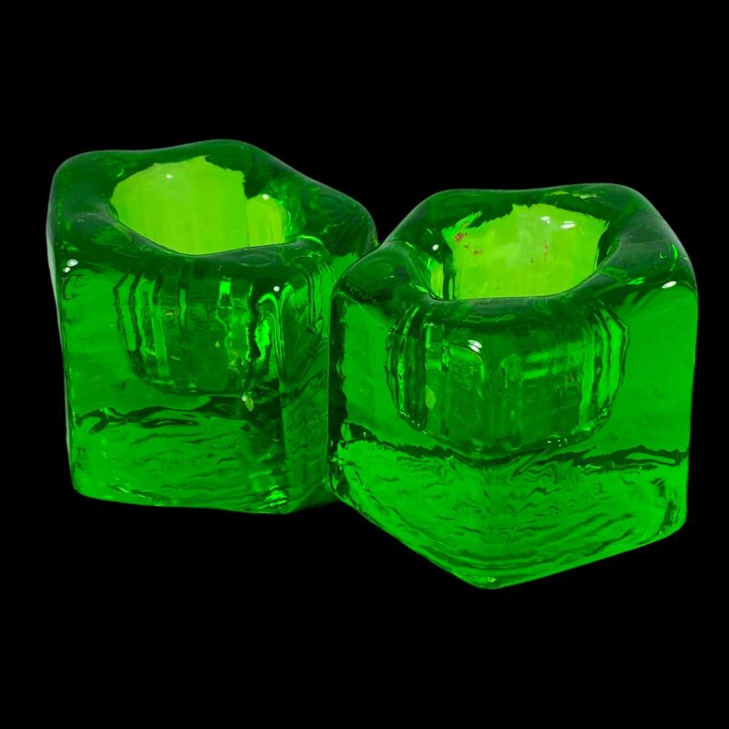 """Vintage Wheaton Nuline NJ Green Glass Candle Holders Mid century .75""""T 1.5""""W"""