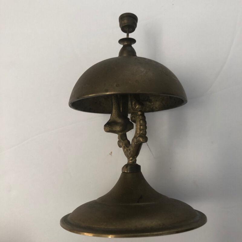 Vintage Solid Brass Pedestal Bell. Tapper Front Desk Hotel Service Bell
