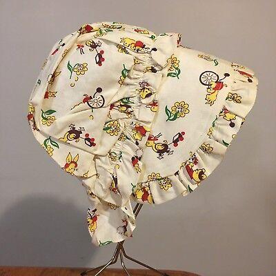 Vtg Girl's Bonnet Puritan Pilgrim PA Dutch Amish Hat Cotton Baby Animals - Pilgrim Girl Hat