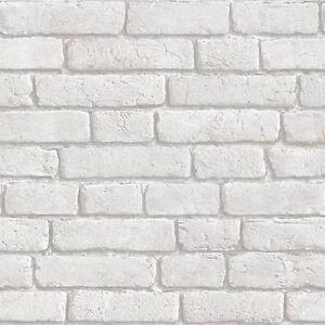 Muriva papel pintado j30309 blanco ladrillo imitaci n estampado nuevo - Papel pintado ladrillo blanco ...