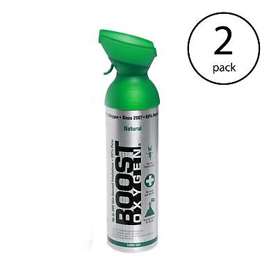 Boost Oxygen Natural Portable 10 Liter Pure Canned Oxygen Canister (2 Pack)