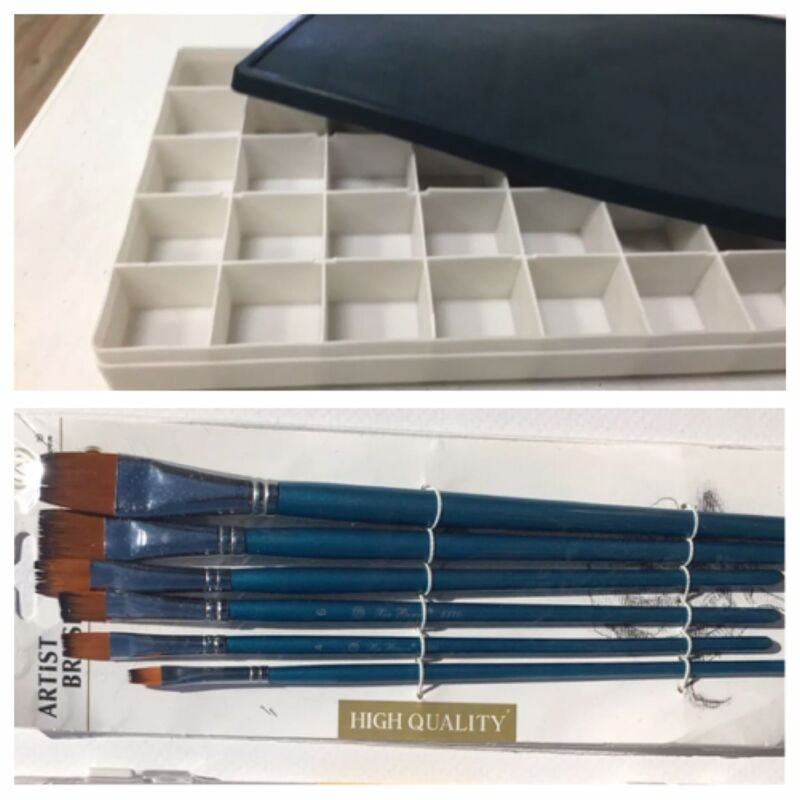 Oil, Acrylic Paint  Storage  Box 36 Leak-Proof + 6  paintbrush
