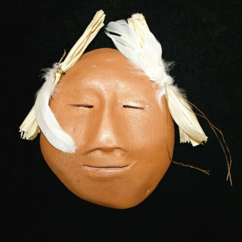 Taos Micaceous Clay Mask with Corn Husks & Feathers by Bernadette Track
