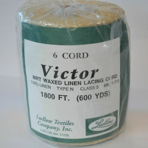 Victor 6 ply waxed LINEN lacing cord rug braiding weaving twine thread 1lb 600yd
