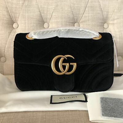 100% AUTH BNWT Gucci Marmont New Gg Mini Black Velvet Shoulder Bag Crossbody