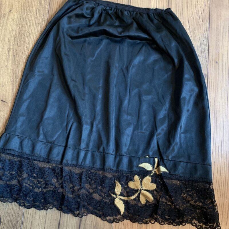 Vintage Women's Slip Skirt Black Lace Size Small Nylon