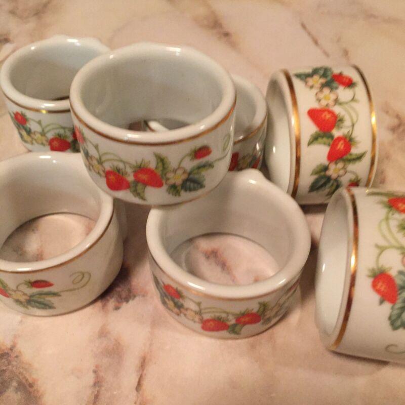 Strawberry Ceramic Napkin Rings Gold Trim Set Of Seven