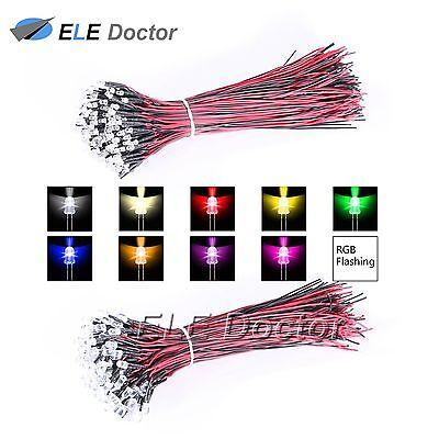 10 30 50pcs Dc 9-12v 3mm 5mm 8mm 10mm Pre Wired Led Diode White Red Blue Lights