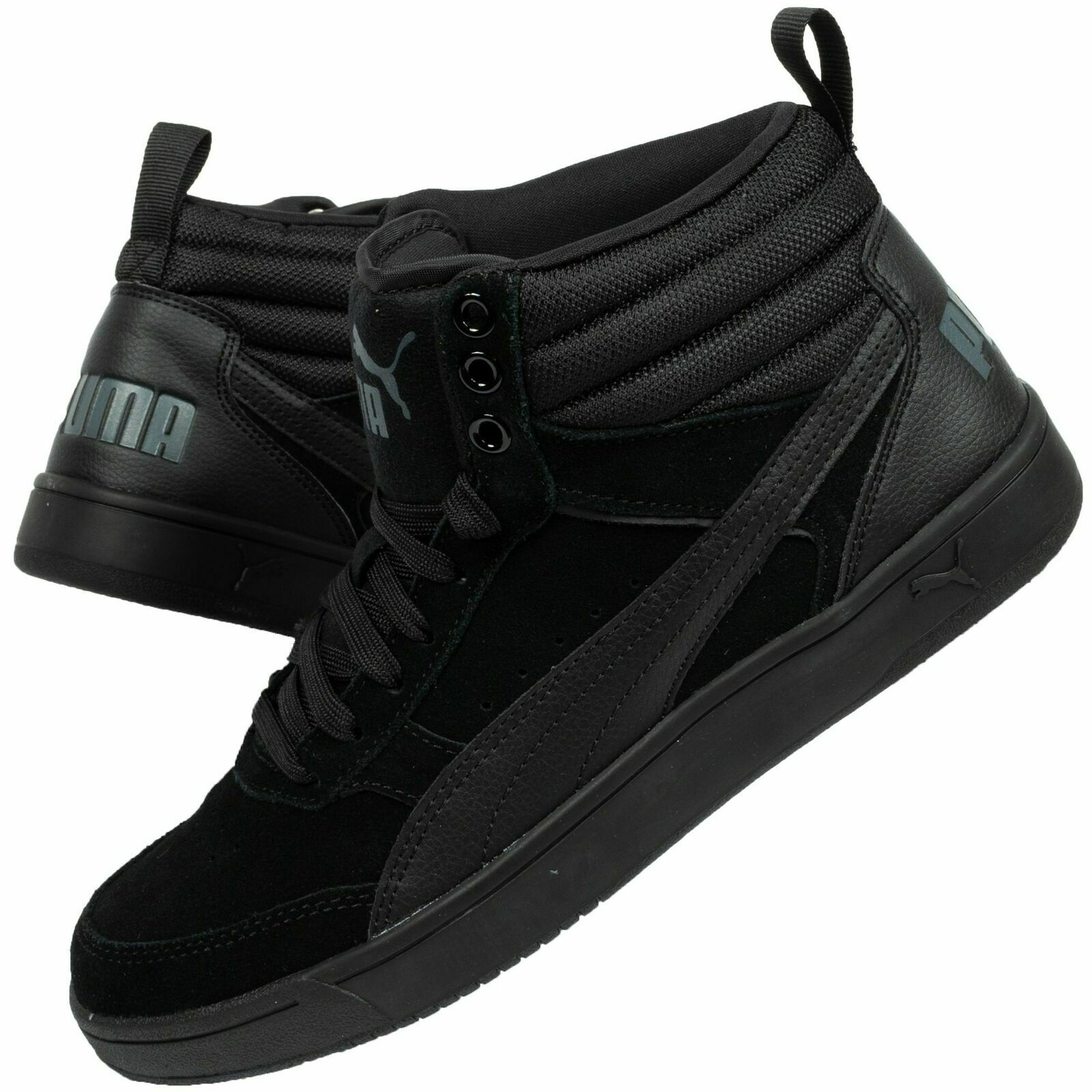 b45fd74282 Men's Puma Rebound Street V2 SD Black Suede High Top Basketball Boots  Trainers
