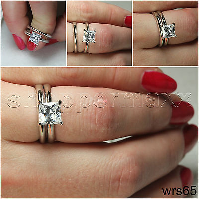 Simple Sterling Silver 925 Nickel Free Solitaire Engagement   Wedding Ring Set