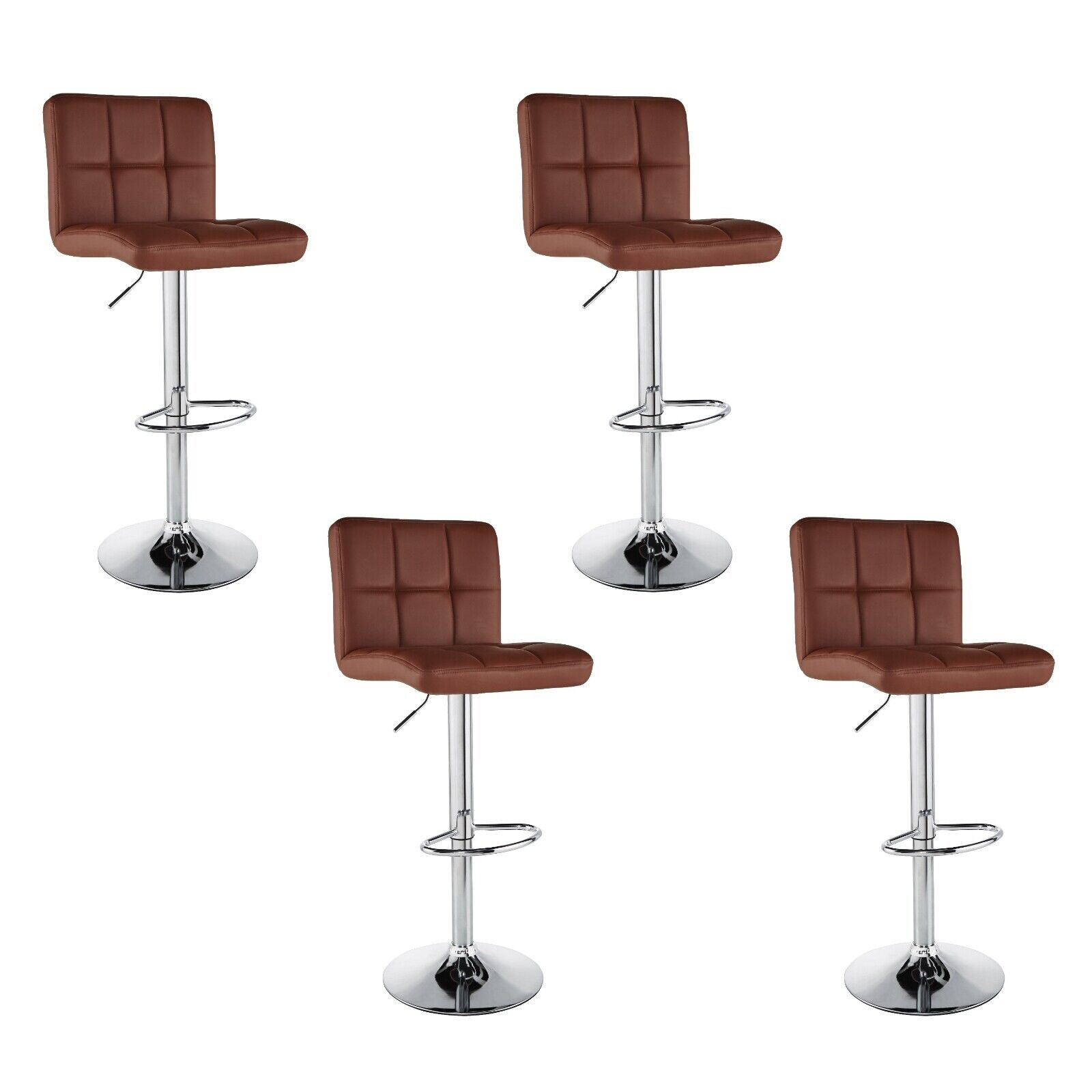 Awesome Set Of 4 Counter Height Pu Leather Bar Stools Adjustable Swivel Pub Chairs Brown Pdpeps Interior Chair Design Pdpepsorg