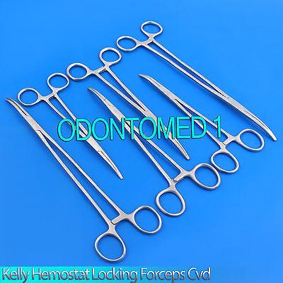 6 Stainless Steel Kelly Hemostat Locking Forceps Curved Serrated Tip 7 -10