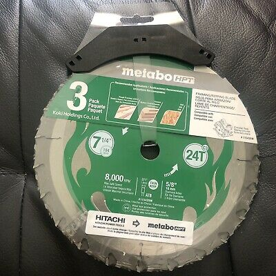Metabo Hpt 115430 M 7-14 24-tooth Circular Saw Blades 3 Pack New Free Ship