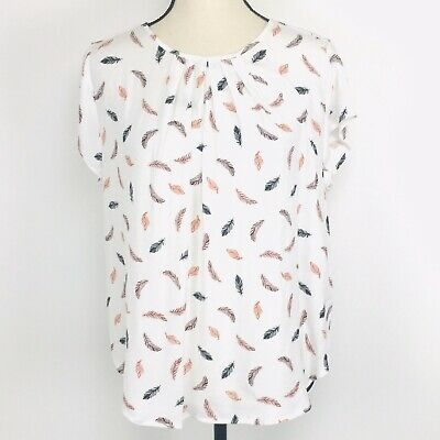 H&M Blouse Women Size 8 Gathered Neckline Feather Print Keyhole Back $18