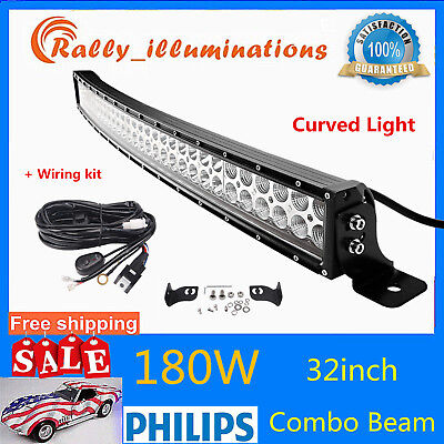 Curved 32inch 180W LED Work Light Bar Combo Offroad Car Driving Lamp Slim+Wiring