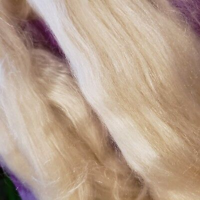 CRAZY Tussah Silk & Baby Camel combed Top 50/50% CREAM Luxury roving spin -