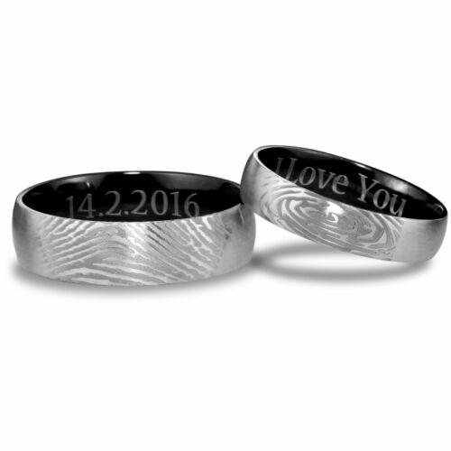 Custom Wedding Rings.Details About Men S Women S Ring Titanium Black Fingerprint Custom Wedding Ring Set Dome A