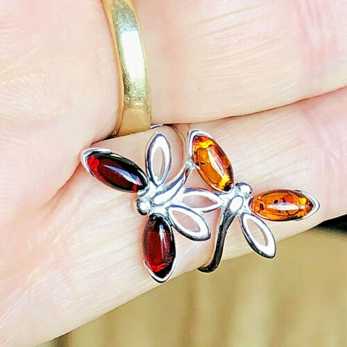 Dragonfly Genuine Russian Baltic Amber Ring Size 7,0 only Vintage Butterscotch