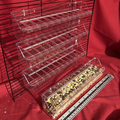 4x Quail Poultry Feeder 30cm Clip On ANTI SPILL Water Food Feeding 2 Hook Trough