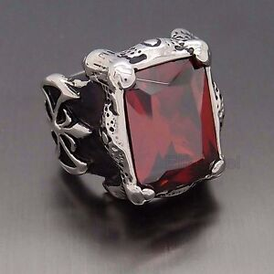 Men-Silver-Dragon-Claw-Ruby-Red-CZ-316L-Stainless-Steel-Biker-Ring