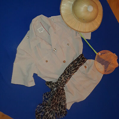 Safari costume womens 12  tan tropical jacket butterfly net helmet hat - Safari Woman Costume