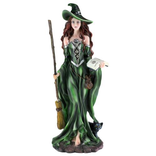 """Green Witch Sorceress With Broom & Black Cat Figurine Statue 10.5"""" High New!"""