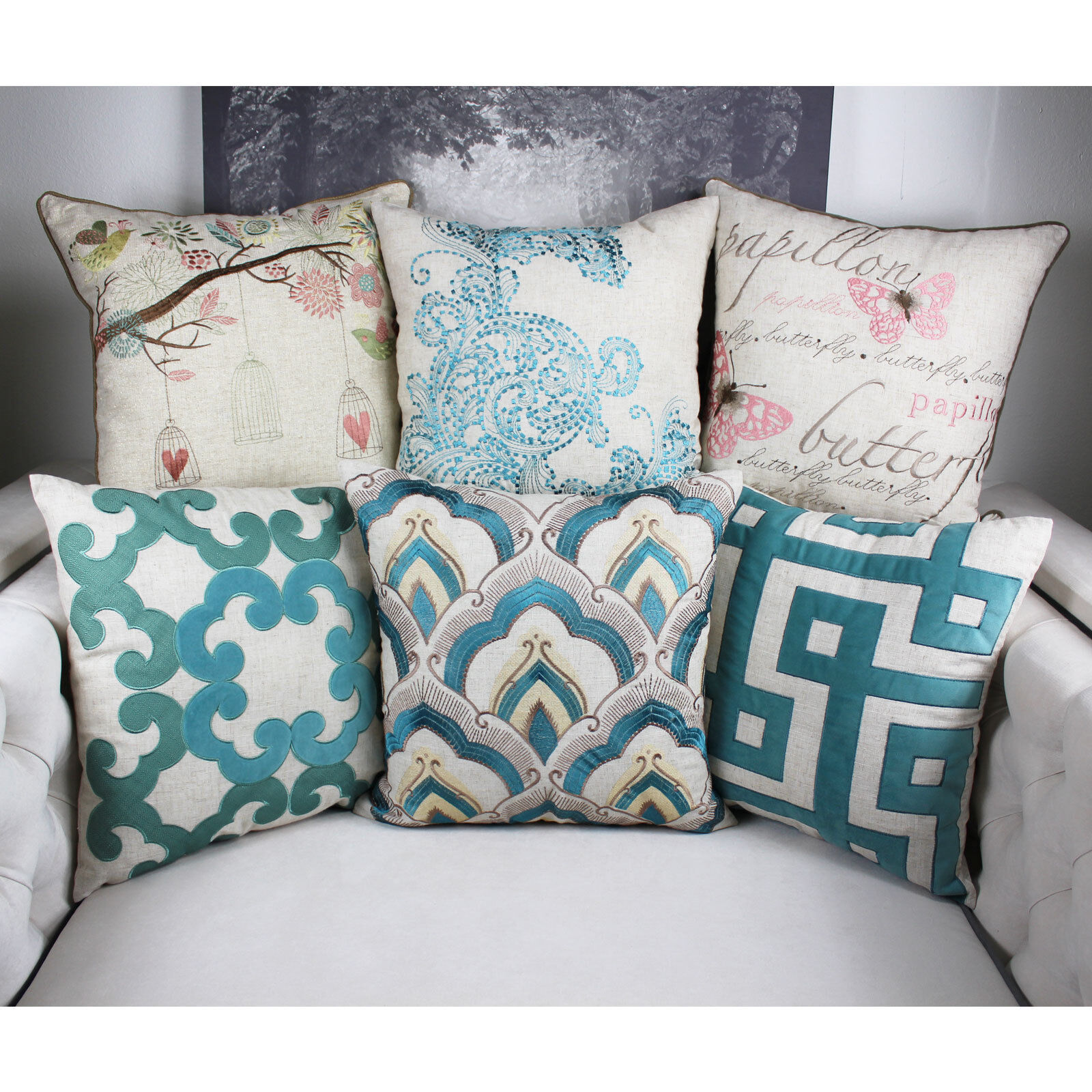 linen throw pillow cover premium embroidery large