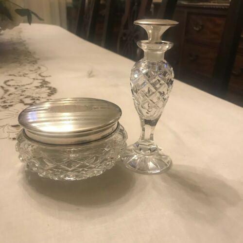 Vintage Birks Sterling Silver Crystal Powder Jar with Matching Perfume