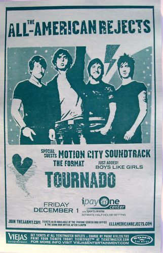 ALL-AMERICAN REJECTS / MOTION CITY SOUNDTRACK 2006 SAN DIEGO CONCERT POSTER