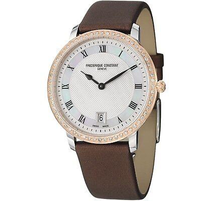 Frederique Constant Women's Slim Line Silver Dial Satin Strap Watch FC220M4SD32
