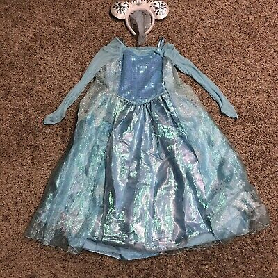 DISNEY Frozen Sequins Kids Child Elsa Halloween Princess Costume Size 7/8