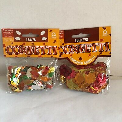 Amscan Confetti Thanksgiving Turkey Leaves Fall Table Decorations New