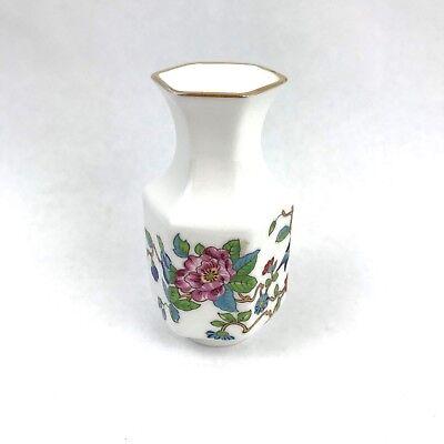 """Miniature Vase England Fine English Bone China Bird Flower White 3 1/2"""" AYNSLEY"""