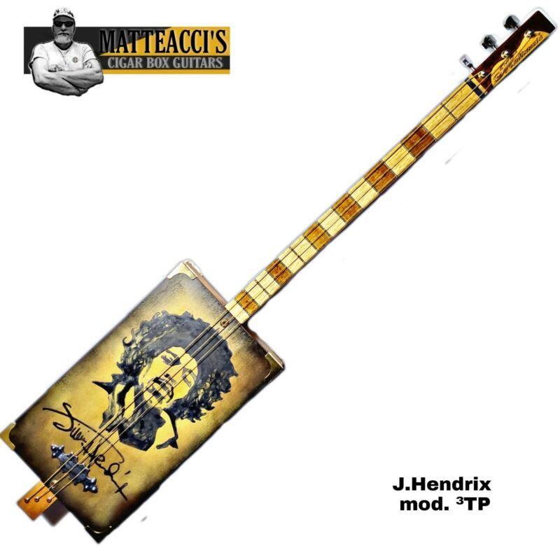 Jimi Hendrix Signature Cigar Box Guitar 3T-P by Robert Matteacci