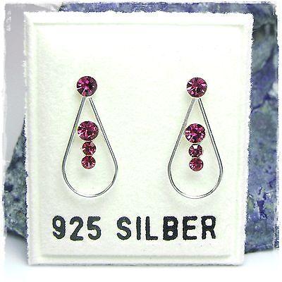 NEU 925 Silber OHRSTECKER mit SWAROVSKI STEINE in fuchsia/pink OHRRINGE