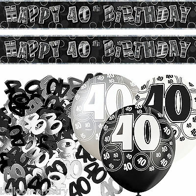 Black Silver Glitz 40th Birthday Banner Party Decoration Pack Kit Set