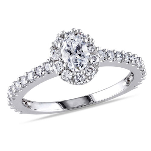 Amour 1 Ct Tw Oval Halo Diamond Engagement Ring In 14k White Gold