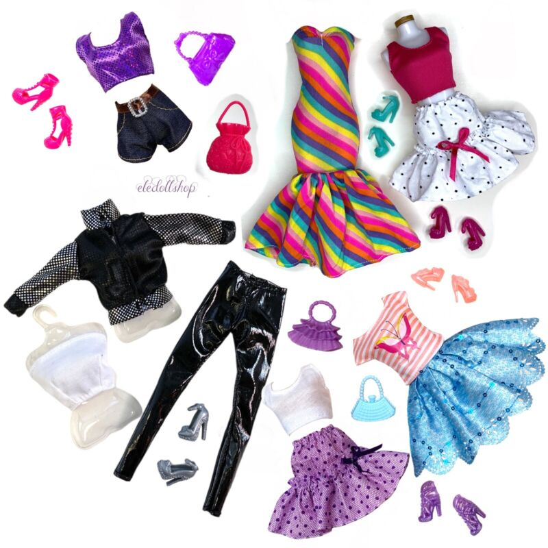 "Eledoll 11.5"" Doll Clothes Lot & SHOES Fashion Pack Fits Barbie Doll"