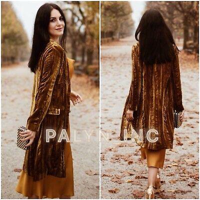 NWT ZARA AW18 MUSTARD VELVET FROCK DOUBLE-BREASTED COAT JACKET SILK 2731/268 Double Breasted Silk Coat
