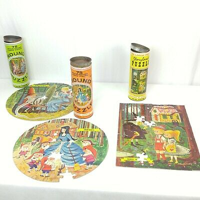 Vtg Storyland Puzzles Snow White Rumpelstiltskin Hansel Gretel HG Toys Lot of 3