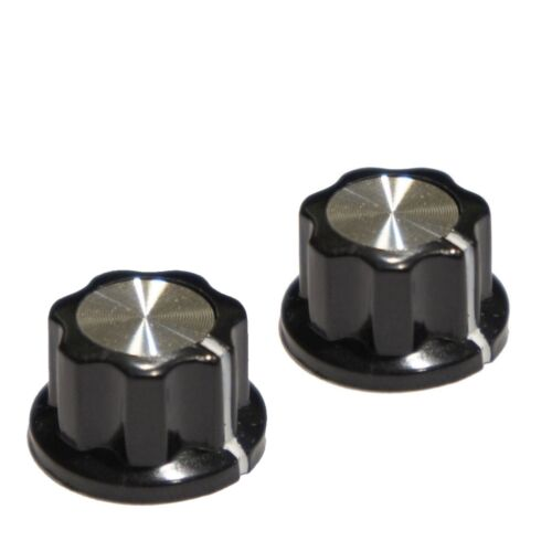 """(2) Fluted Top Hat Knob for Custom DIY Effects / Boss Pedals fit 1/4"""" Knob Shaft"""