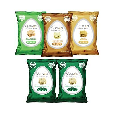 Quevos Keto Low Carb Egg White Chips Variety Pack - Sour Cream  Onion, Rancheros