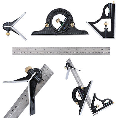 12 Combination Protractor Tri- Square Angle Ruler Machinist Measuring Tools