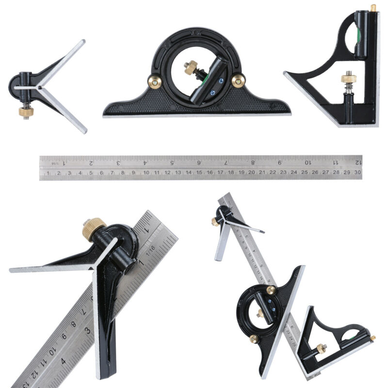 "12"" Combination Protractor Tri- Square Angle Ruler Machinist Measuring Tools"